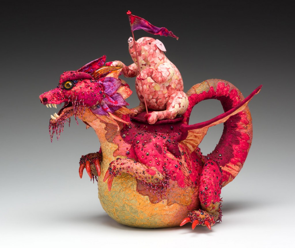 """Thomas Atkins (American b.1944) """"When Pigs Fly"""" 2006 quilted cotton, aluminum wire, glass beads, coral, glass, faux amber. 18 x 22 x 18"""" Photo: David H. Ramsey. 2007.124.2"""