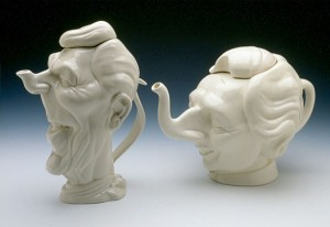 "Left: Luck & Flaw (England)/ Hall China (USA) ""Ronald Reagan"" c. 1986 ceramic 10 x 7.5 x 5"" 2004.32"