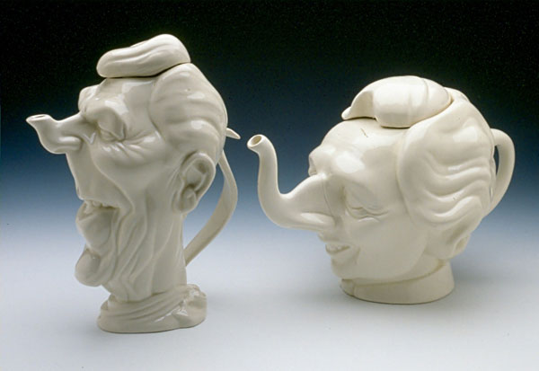 "Left: Luck & Flaw (England)/ Hall China (USA) ""Ronald Reagan"" c. 1986 ceramic 10 x 7.5 x 5"" 2004.32"