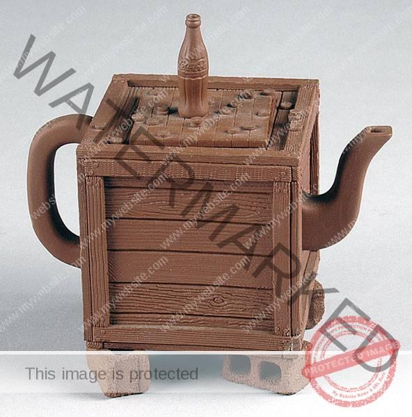 "Richard Notkin (American, b. 1948) ""Teapot from Yixing Series"" 1985 stoneware. 4.75 x 4.75 x 3.25"" Photo: Tom Macdonald, courtesy of Bonham Auctions. 2007.61.2"