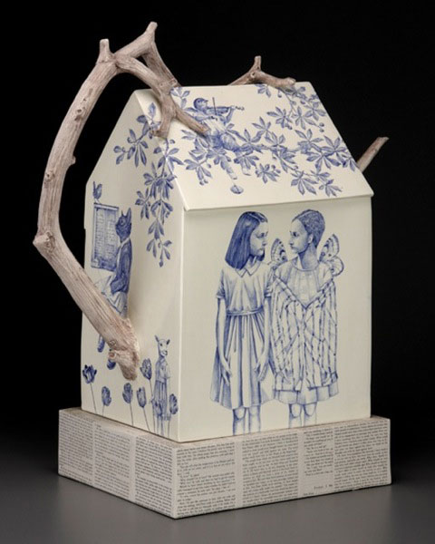 "Laura (Red) Weldon Sandlin (American, b. 1958) ""Hidden Identitea"" 2009 ceramic   20.5 x 22.2 x 9.5''. Photos: John Polack, courtesy of the Ferrin Gallery. 2009.51.14"