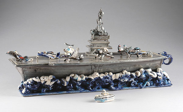 "Gerry Wallace (American, b. 1943) ""Aircraft Carrier"" 2005 stoneware, porcelain, china paint, A10 oxide. 7.5 x 18.25 x 6.75"" Photos: Kevin O'Dwyer 2005.84.1"