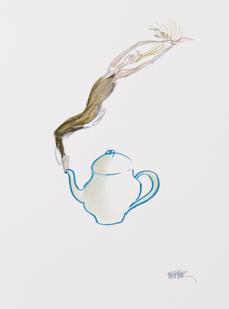 "Jules Ralph Feiffer (American, b. 1929) ""Kamm Family Teapot Drawing"" 2013 watercolor on paper 17 x 13"" Photo: David H. Ramsey. 2013.182"