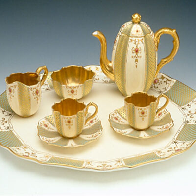 Coalport Porcelain Factory (England) Jeweled Tea Set