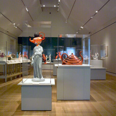The Artful Teapot installation at the Peabody Essex Museum in Salem, MA.