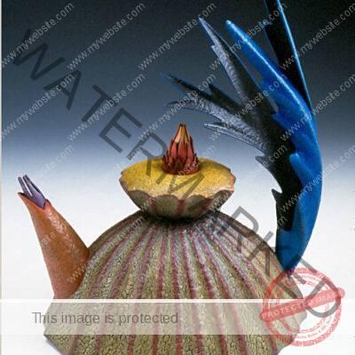 Helen Shirk (American, b. 1942) Blue Frond Teapot