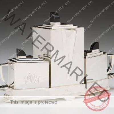 Gene Theobald (American, active 1920s-1930s)/ Wilcox Silver Plate Co. (USA) Diament Tea Service