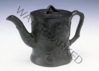 Unknown maker (England). Black Basalt Teapot with Leaf Design, ca. 1800. Stoneware. Kamm Collection 1994.2.4