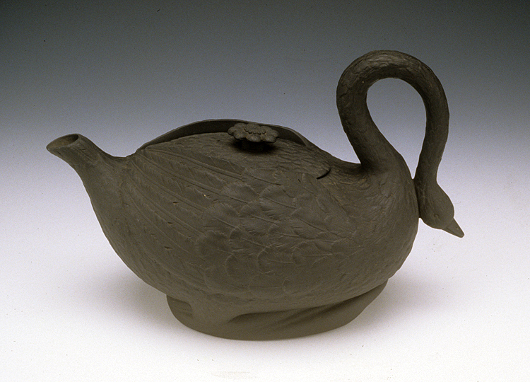 Sowter & Co. (England). Black Basaltes Swan Teapot, ca. 1805. Stoneware 6.5 x 10 x 5″. Kamm Collection 1992.57