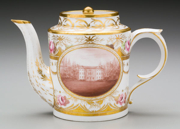 "William Billingsley (British, 1758-1828) ""Park Hall Teapot"" ca. 1799-1808  porcelain. 6 x 8.75 x 4.5"" Photo: David H. Ramsey. 2005.9.2"
