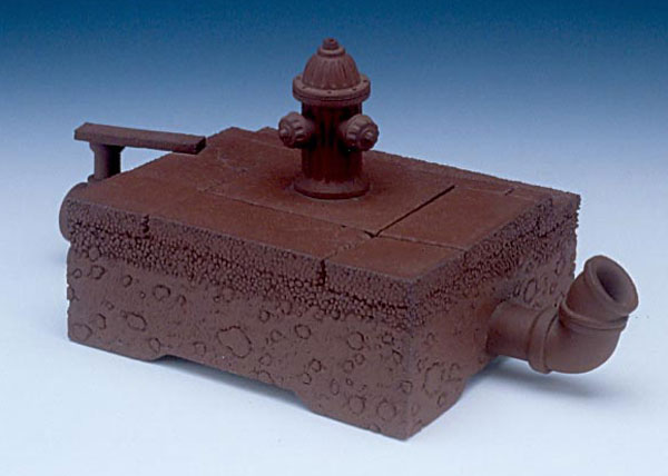 "Richard Notkin (American, b. 1948) ""Curbside Teapot (Yixing Series)"" 1983 stoneware. 3.5 x 7.25 x 3.875"" Photo: Tony Cunha. 1996.1.72"