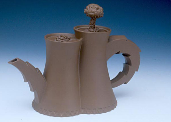 "Richard Notkin (American, b. 1948) ""Cooling Towers Teapot #1 (Yixing Series)"" 1983 stoneware 6.25 x 8.625 x 3.75"" Photo: Tony Cunha. 1996.1.74"