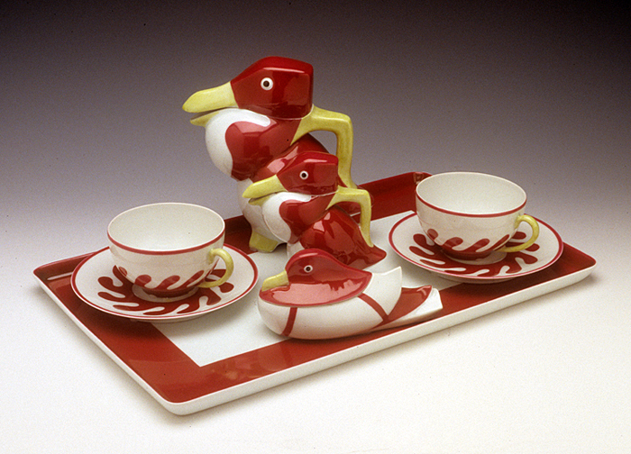 Photo of Bird Tea Set. Edouard-Marcel Sandoz (Swiss, 1881-1971); Theodore Haviland, Limoges (France, founded 1892). Bird Tea Set ca. 1925 porcelain 6.75 x 6.5 x 4″ (teapot). Kamm Collection 1994.64. Photo: Tony Cunha.