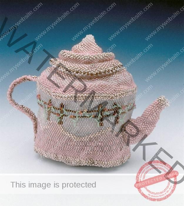 Theresa Biagioli (American, b. 1957) Rasberry Zinger – Grandma's Garden c. 1997 seed beads, thread