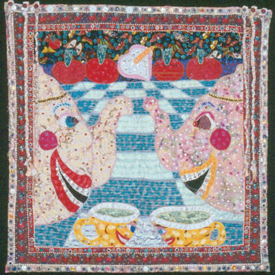 Therese May (American, b. 1943) Tea Lovers 1998 machine-appliqued cloth, paint, buttons, beads