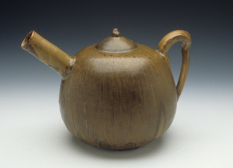Jean-Joseph Carriès (French, 1855-1894) Teapot [scupture] ca. 1888 stoneware, 6.5 x 10 x 6.75″ Kamm Collection 1996.24.1