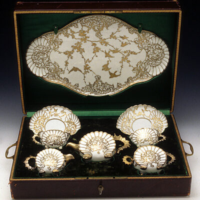Jacob Petit Limoges Overlay Tea Set