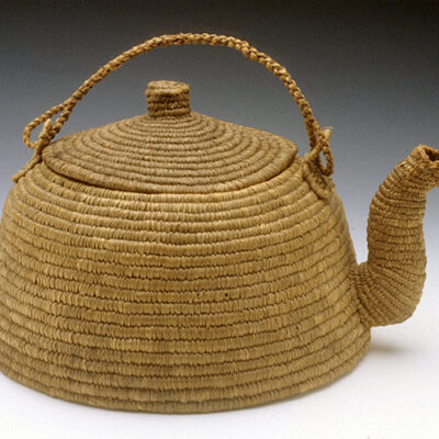 Unknown maker Eskimo Teapot ca. 1900 woven rye grass 9 x 5.5 x 7.5″
