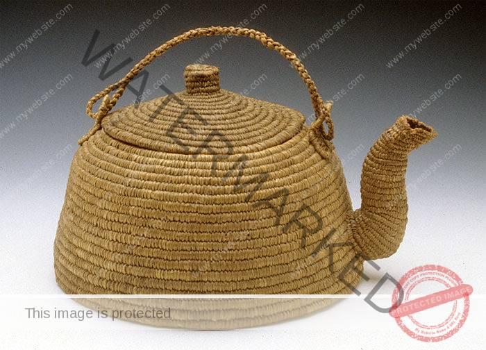 Unknown maker Eskimo Teapot ca. 1900 woven rye grass 9 x 5.5 x 7.5″