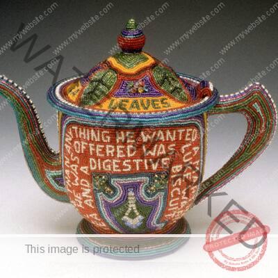 Thomas Wegman (American, 1930-2012) Teapot beadwork, found teapot