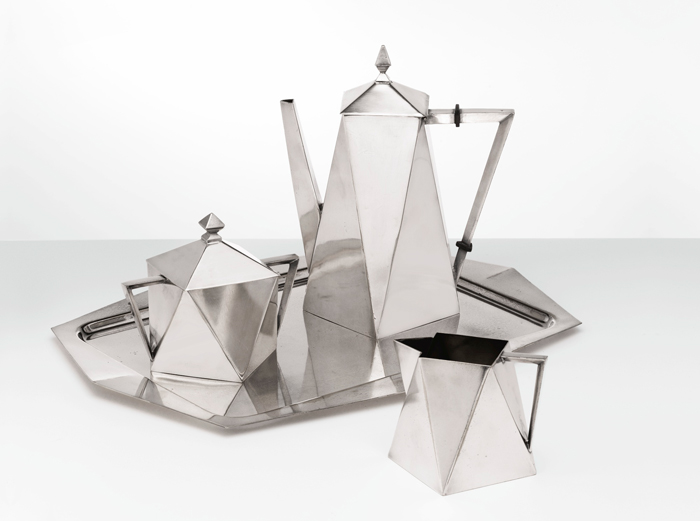 """Elwood North Cornell / Middletown Silver Company, """"Modernistic Coffee Service"""" 1928"""