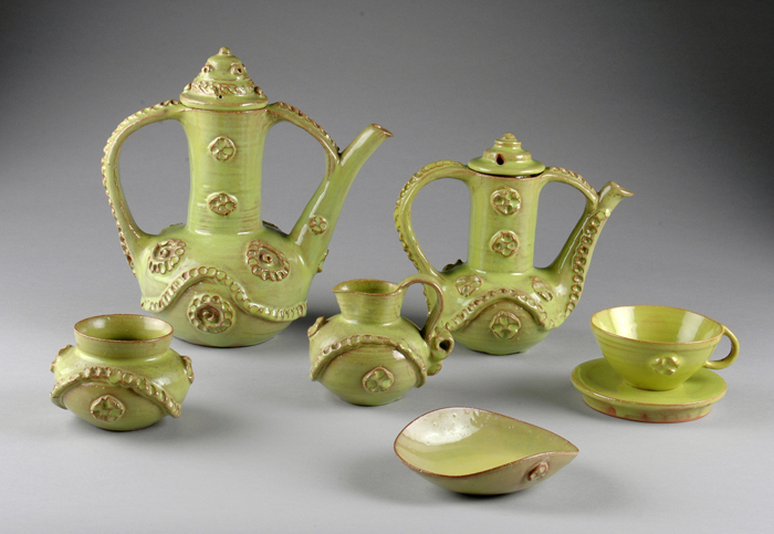 Beatrice Wood, Chartreuse Coffee and Tea Set ca. 1945