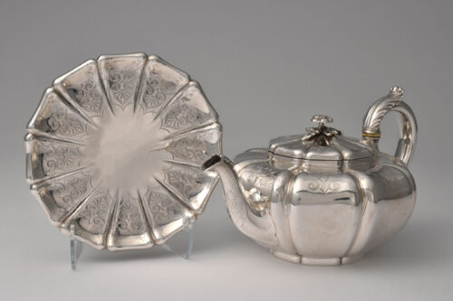 Paul Storr silver teapot with stand.